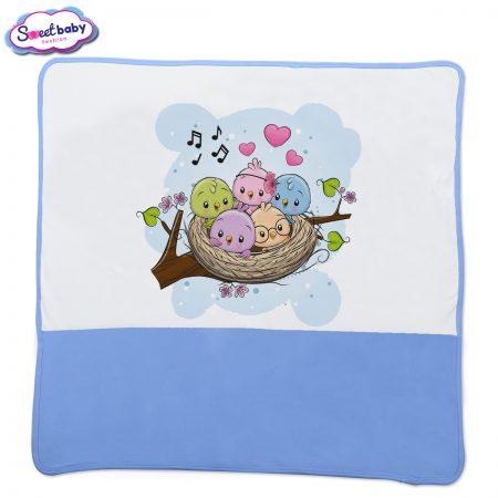 Бебешка пелена Птичета синьо бяло