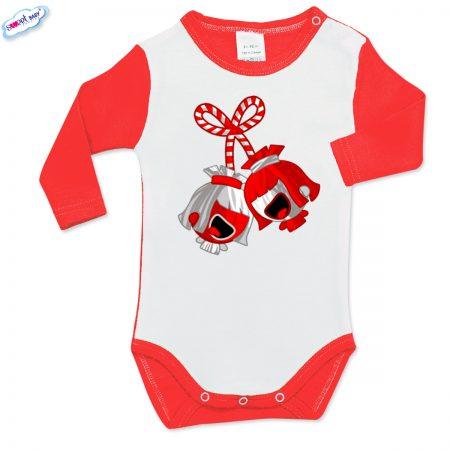 Бебешко боди Мартенички червено и бяло