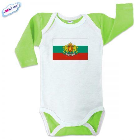 Бебешко боди US Българско знаме зелено