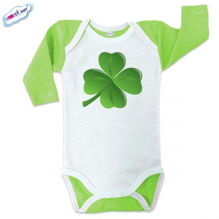 Бебешко боди US Детелинка зелено бяло