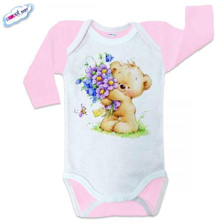 Бебешко боди US Мече с букетче розово бяло