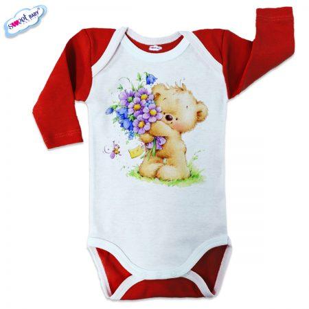 Бебешко боди US Мече с букетче червено бяло