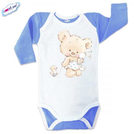 Бебешко боди US Мече с играчки синьо бяло
