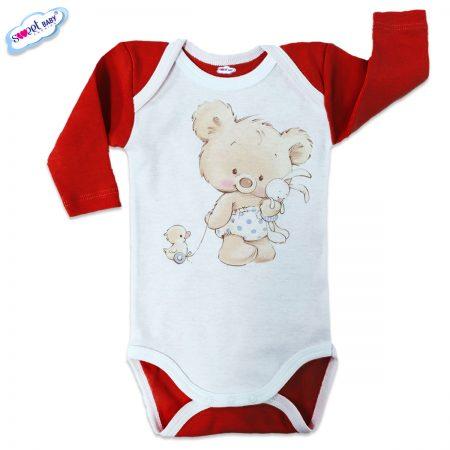 Бебешко боди US Мече с играчки червено бяло