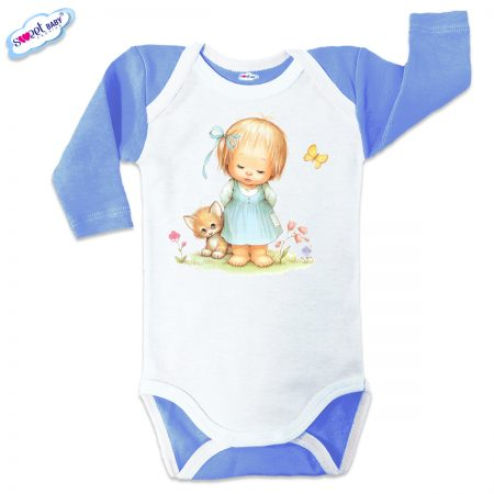 Бебешко боди US Момиченце в градинка синьо бяло