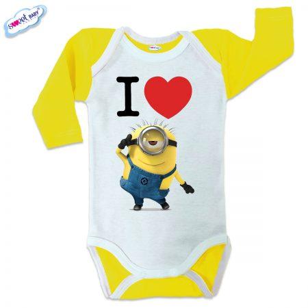 Бебешко боди US Обичам миньони жълто
