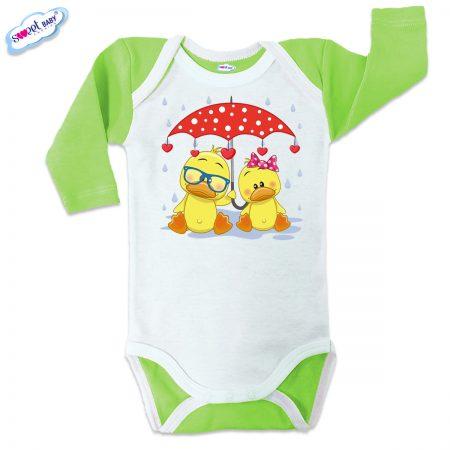 Бебешко боди US Патета в дъжда зелено бяло