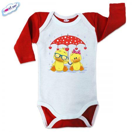Бебешко боди US Патета в дъжда червено бяло