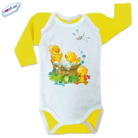 Бебешко боди US Патешка баня жълто бяло