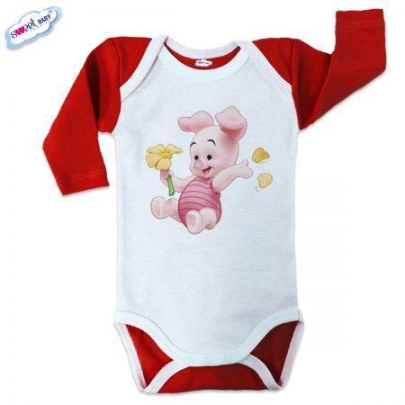 Бебешко боди US Прасчо червено бяло