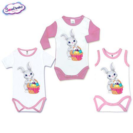 Бебешки бодита Зайче с шарени яйца сет от 3