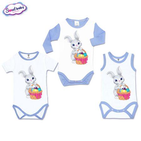 Бебешки бодита Зайче с шарени яйца сет 3