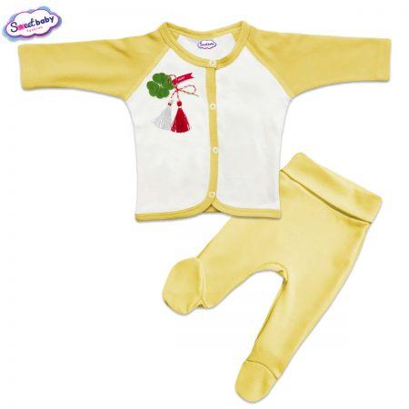 Бебешки сет Късмет жълто и бяло