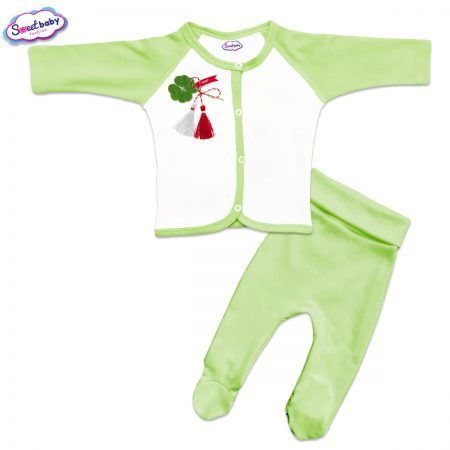Бебешки сет Късмет зелено и бяло