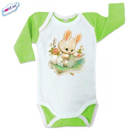 Бебешко боди US Зайчо зелено бяло