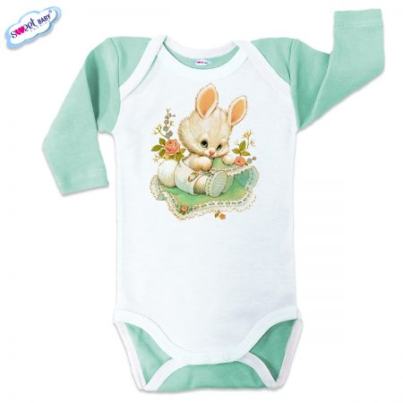 Бебешко боди US Зайчо мента бяло