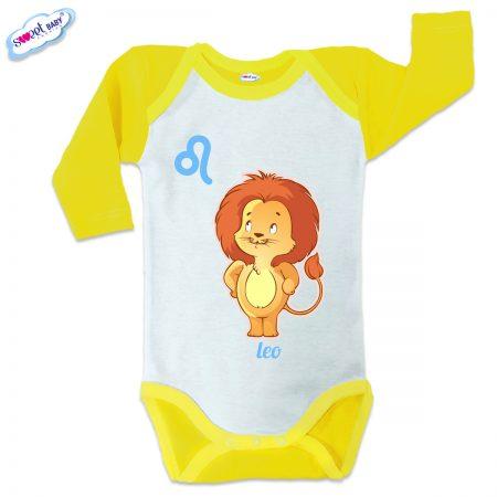 Бебешко боди US Зодия Лъв жълто кант