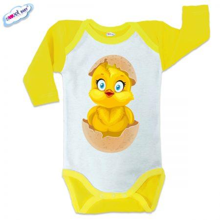 Бебешко боди US Излюпено пиленце жълто кант