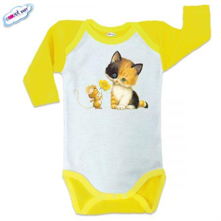 Бебешко боди US Коте с Мишле жълто кант