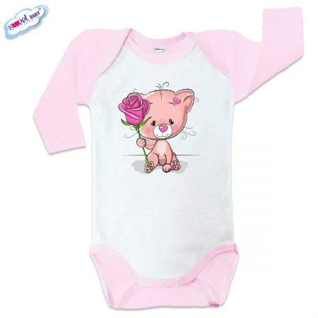 Бебешко боди US Коте с роза розов кант
