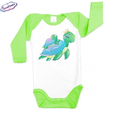 Бебешко боди US Мама Костенурка зелено кант зелено