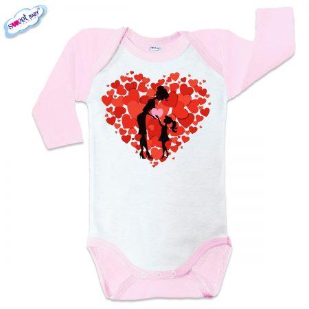 Бебешко боди US Обичам мама розов кант