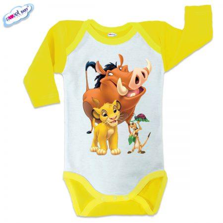 Бебешко боди US Хакуна матата жълто кант