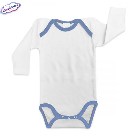 Бебешко боди US бяло кант синьо
